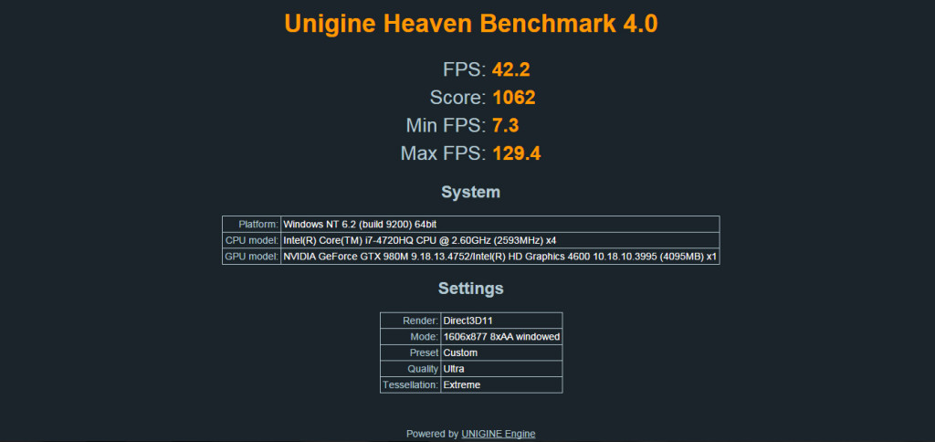 xmg p505 graphics benchmark