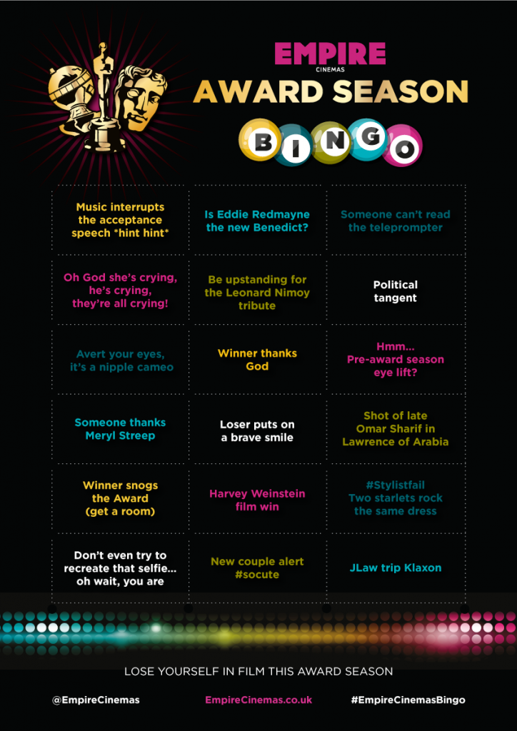 empire cinema oscar bingo