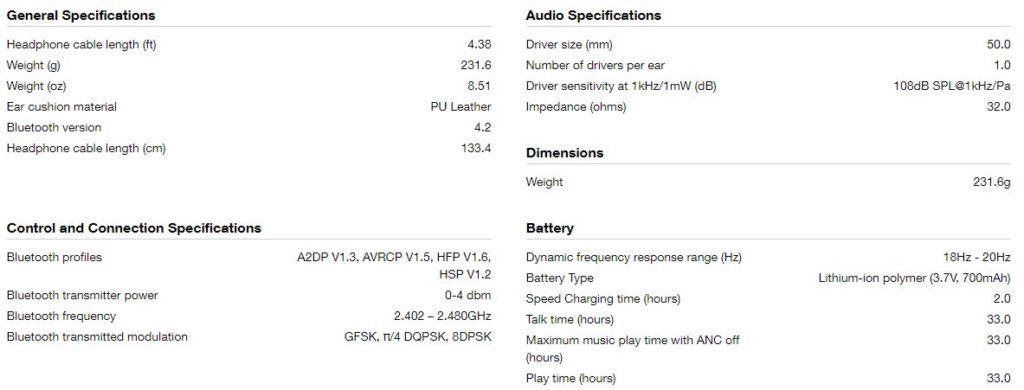 JBL LIVE500BT Headphones specification 1